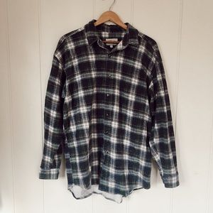 American Eagle Outfitters Blue + Green Flannel